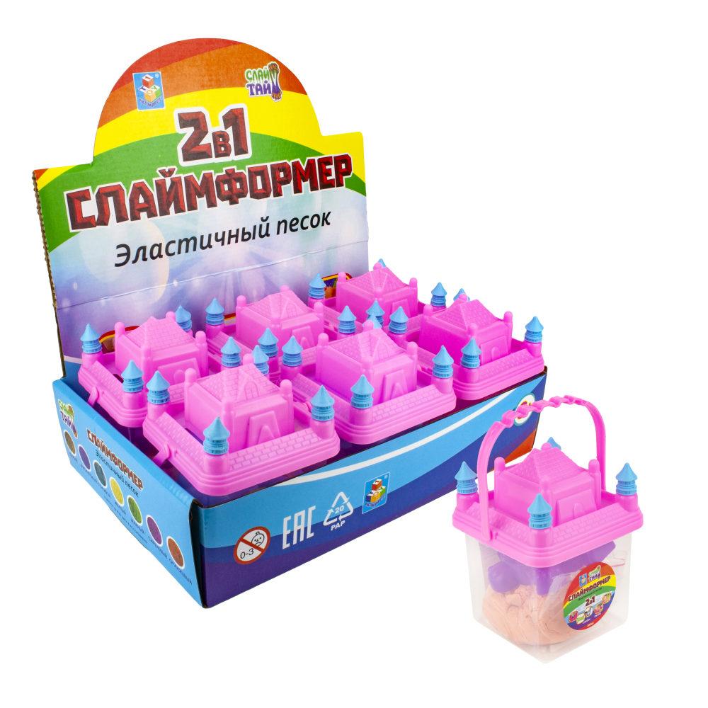СЛАЙМФОРМЕР 200 гр (в пакете) в баночке с 1 формочкой (для девочек), в дисплей-боксе, 6 цветов песка в ассортменте