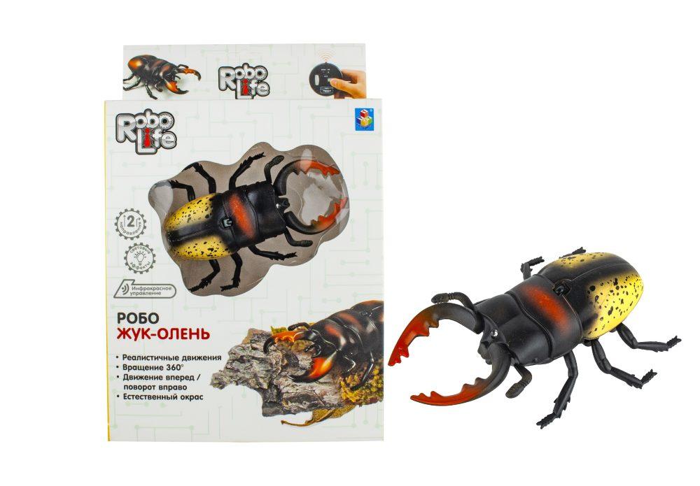 1 toy Игрушка Робо-Жук-Олень (желтый) на ИК Управлении, с зарядкой от пульта, пульт работает от 3*АА бат.(в компл не входят),27*17,5*6см