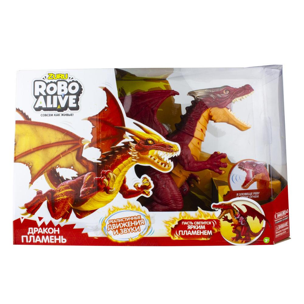 ZURU Игрушка Робо-Дракон RoboAlive(Пламень), свет., звук. эффекты, 3 *1,5vAАA бат (в компл не входят) 50*30,5*15 см