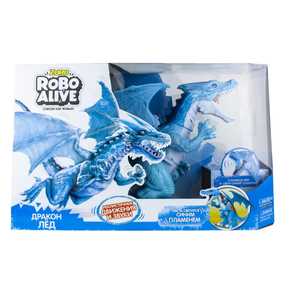 ZURU Игрушка Робо-Дракон RoboAlive(Лед), свет., звук. эффекты, 3 *1,5vAАA бат (в компл не входят) 50*30,5*15 см