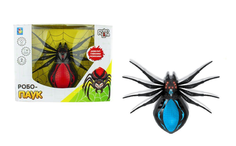 1toy игрушка Робо-паук (свет, звук, движение), коробка 30*23*10 см, 3 *1,5 В АА (в комп не вход), чер-синий