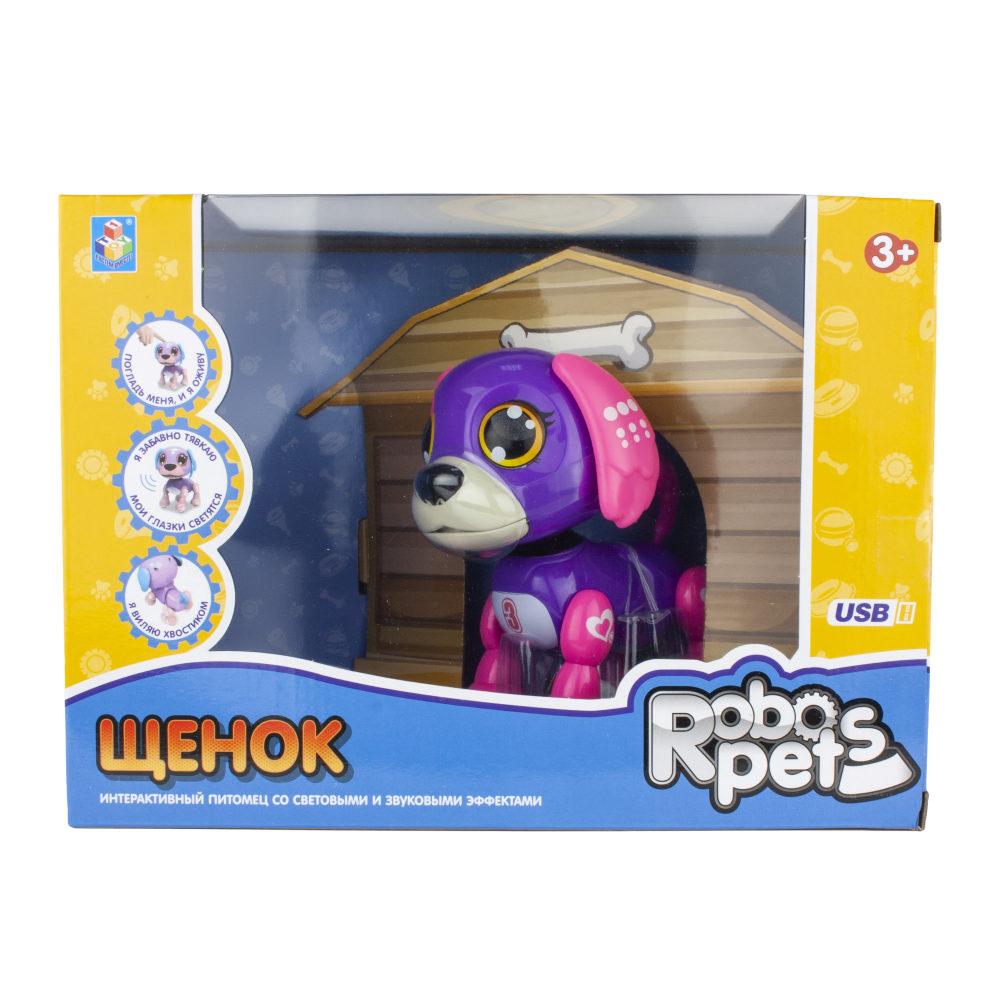 1 toy, интерактивная игрушка Робо-щенок фиолетовый, свет,звук, движение, USB зарядка, коробка с окном 26х19х12 см