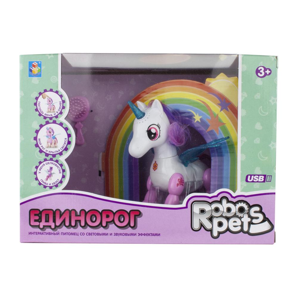 1 toy, интерактивная игрушка Робо-единорог бело-розовый, свет,звук, движение, USB зарядка, коробка с окном 26х19х12 см