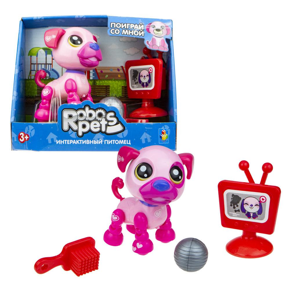 1 toy, игрушка со звук.эффектами Озорной щенок розовый, 3 бат LR44 в компл.