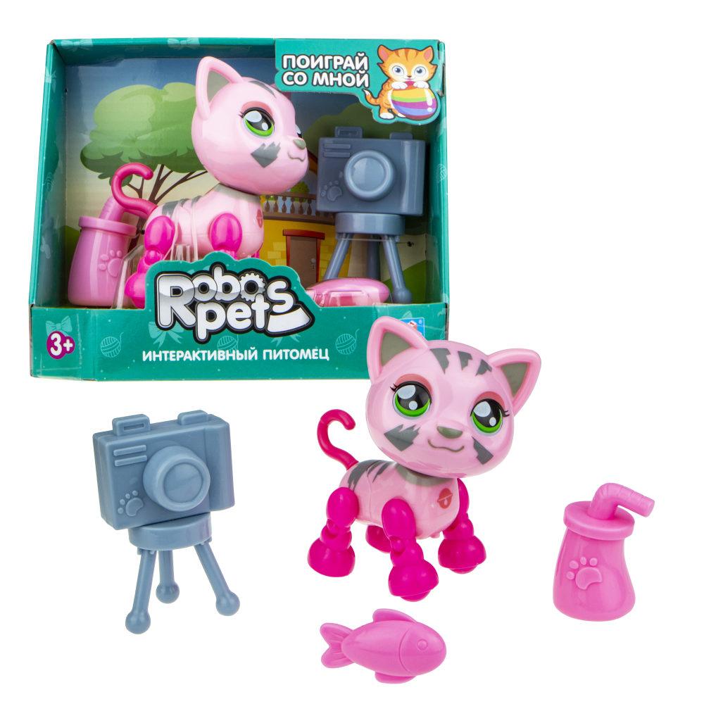 1 toy, игрушка со звук.эффектами Милашка котенок розовый, 3 бат LR44 в компл.