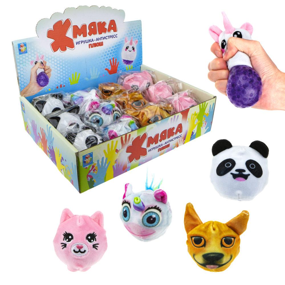 1toy Жмяка-плюш с шариками, кот, панда, собака, единорог, 10см, 24шт в д/б