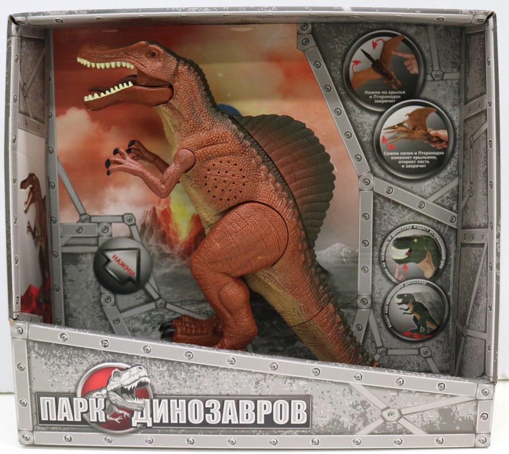 1toy, игрушка Динозавр (2*АА входят в компл) свет и звук, коробка 32х29х9,2 см, Спинозавр