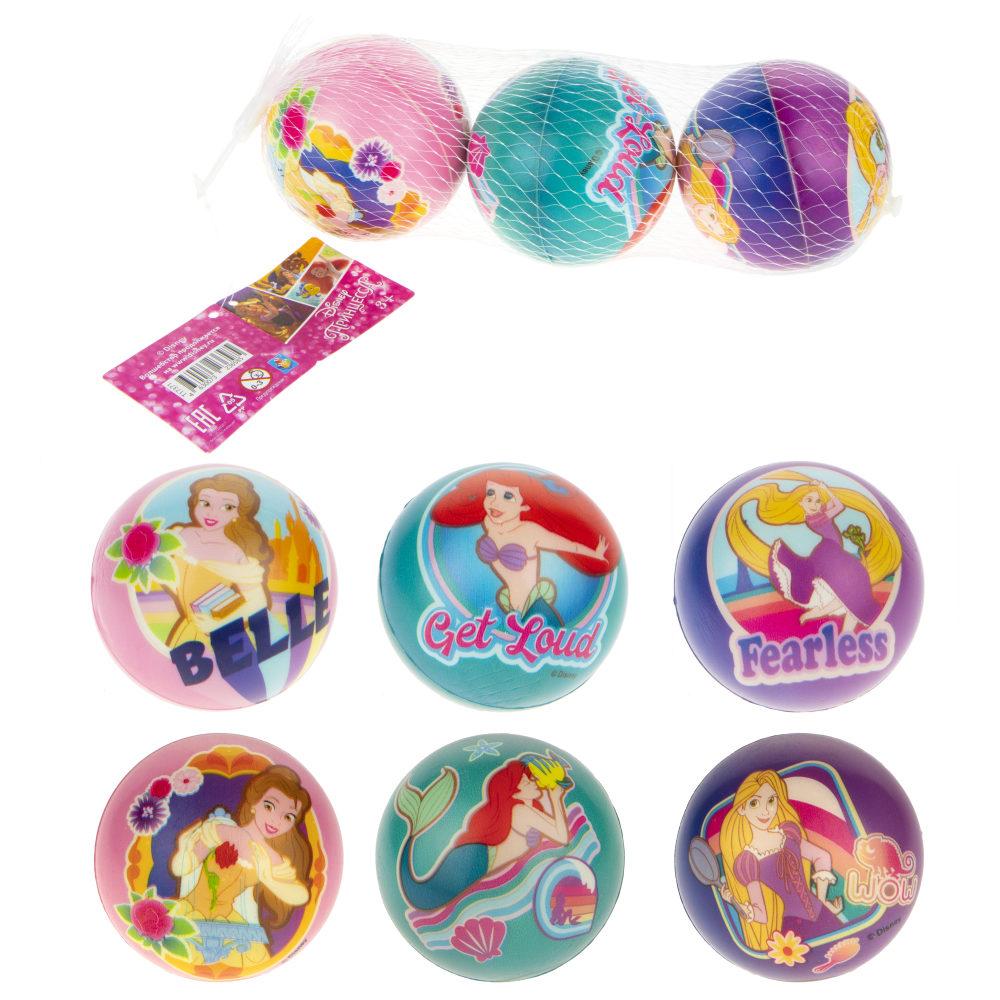 1toy Disney Принцессы Рапунцель/Русалочка/Бэль мячики PU с принтом , 7,5 см., 3 шт. в сетке
