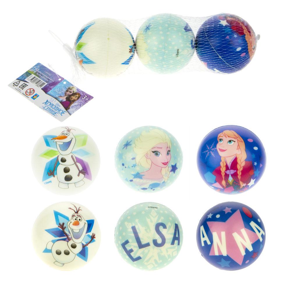 1toy Disney Холодное Сердце мячики PU с принтом , 7,5 см., 3 шт. в сетке
