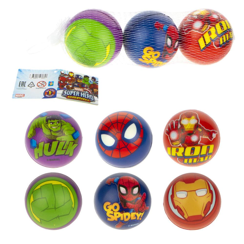 1toy Marvel Мстители Человек Паук/Железный Человек/Халк мячики PU с принтом , 7,5 см., 3 шт. в сетке
