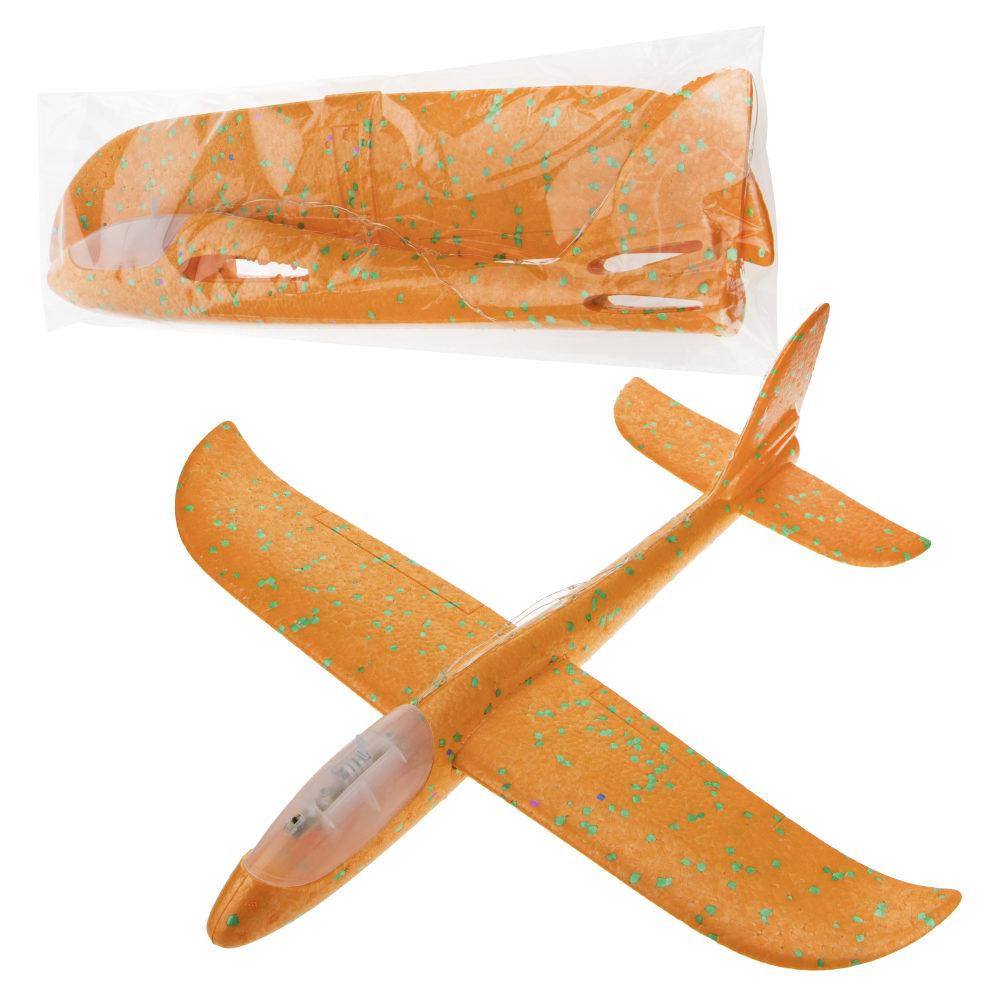 1toy глайдер из пенопласта, сборный, без механизмов, с LED нитью по корпусу и крыльям 47*48 см, пакет