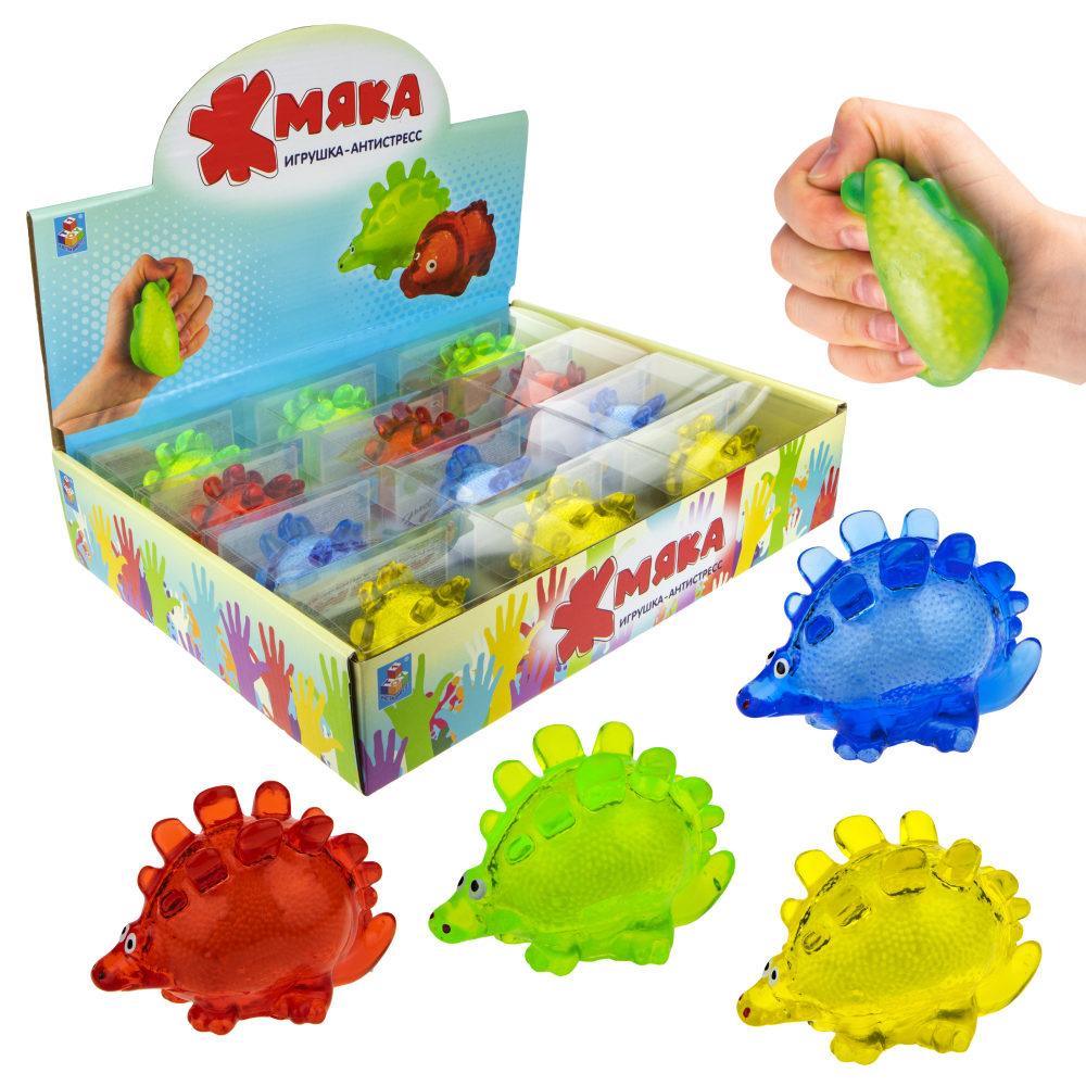 1toy  Жмяка липучая динозавр, в коробке , 10 см, 4 цвета, 12шт в д/б