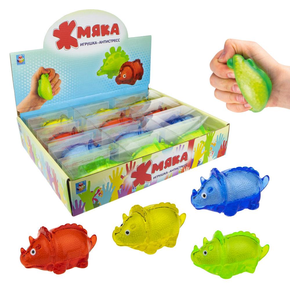 1toy  Жмяка липучая динозавр, в коробке , 12см, 4 цвета, 12шт в д/б