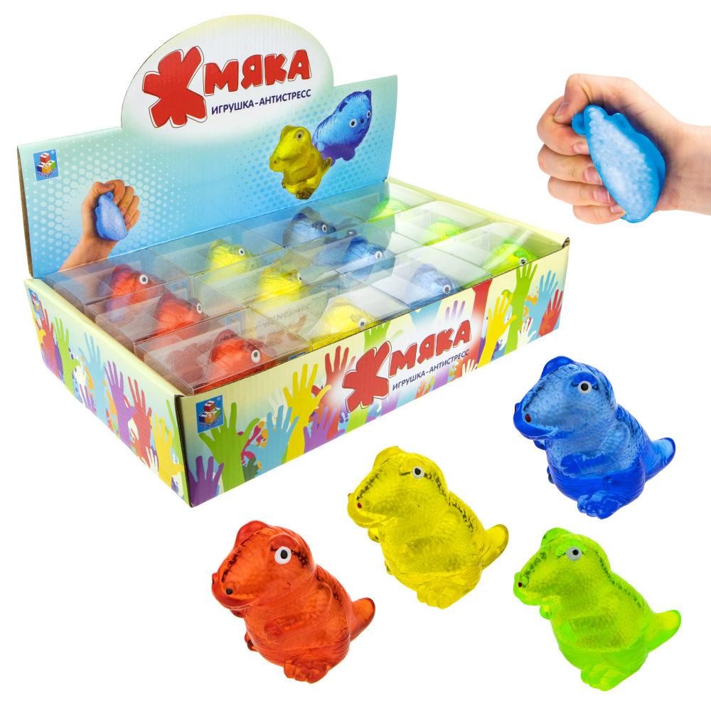 1toy  Жмяка липучая динозавр, в коробке , 8,5см, 4 цвета, 12шт в д/б