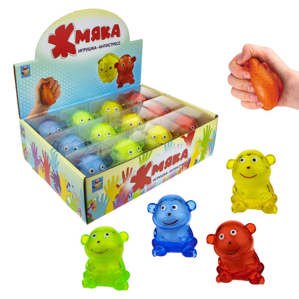 1toy  Жмяка липучая обезьяна, в коробке , 9 см, 4 цвета, 12шт в д/б