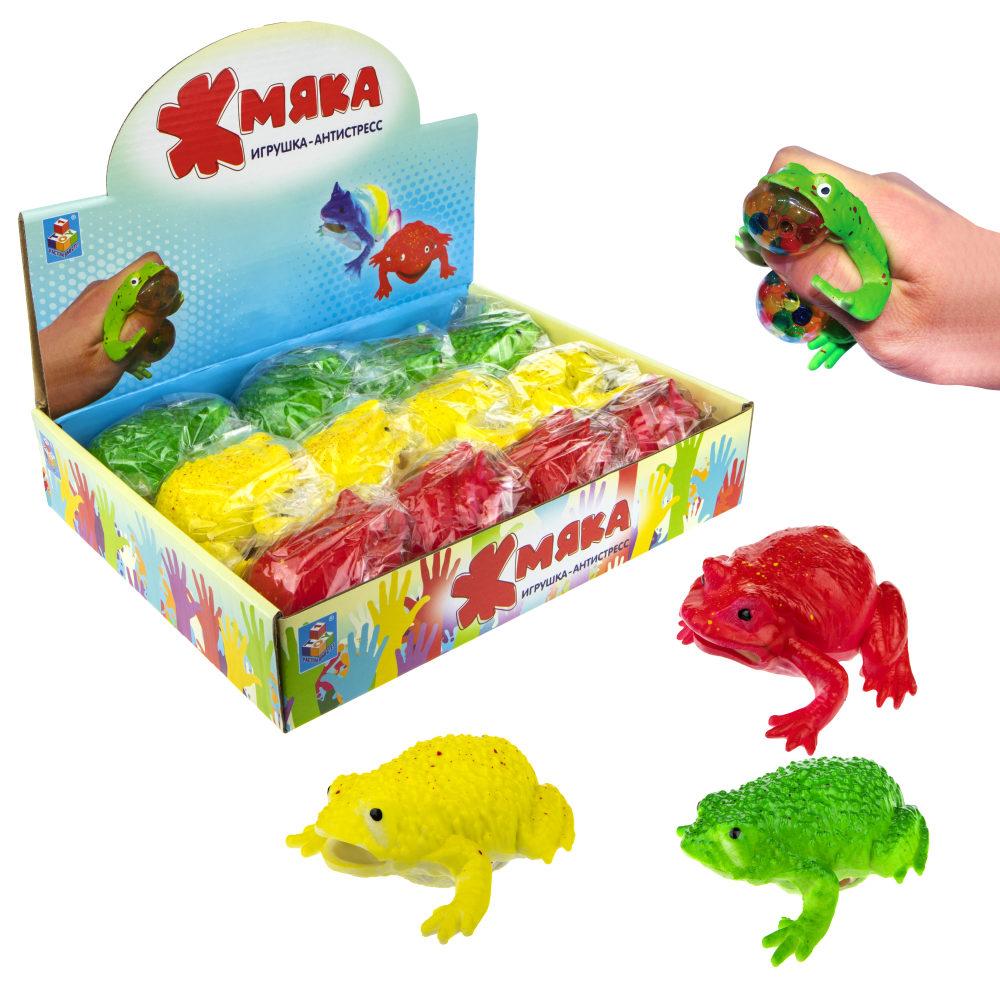 1toy  Жмяка лягушка с шариками, 8 см, 3 цвета, 12шт в д/б