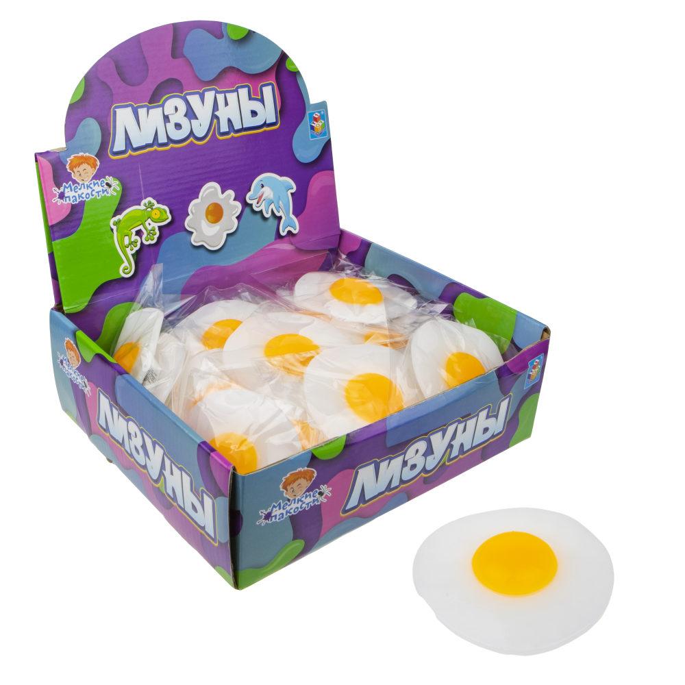 1toy Мелкие пакости  Лизун яичница, 10 см, 40 шт в д/б