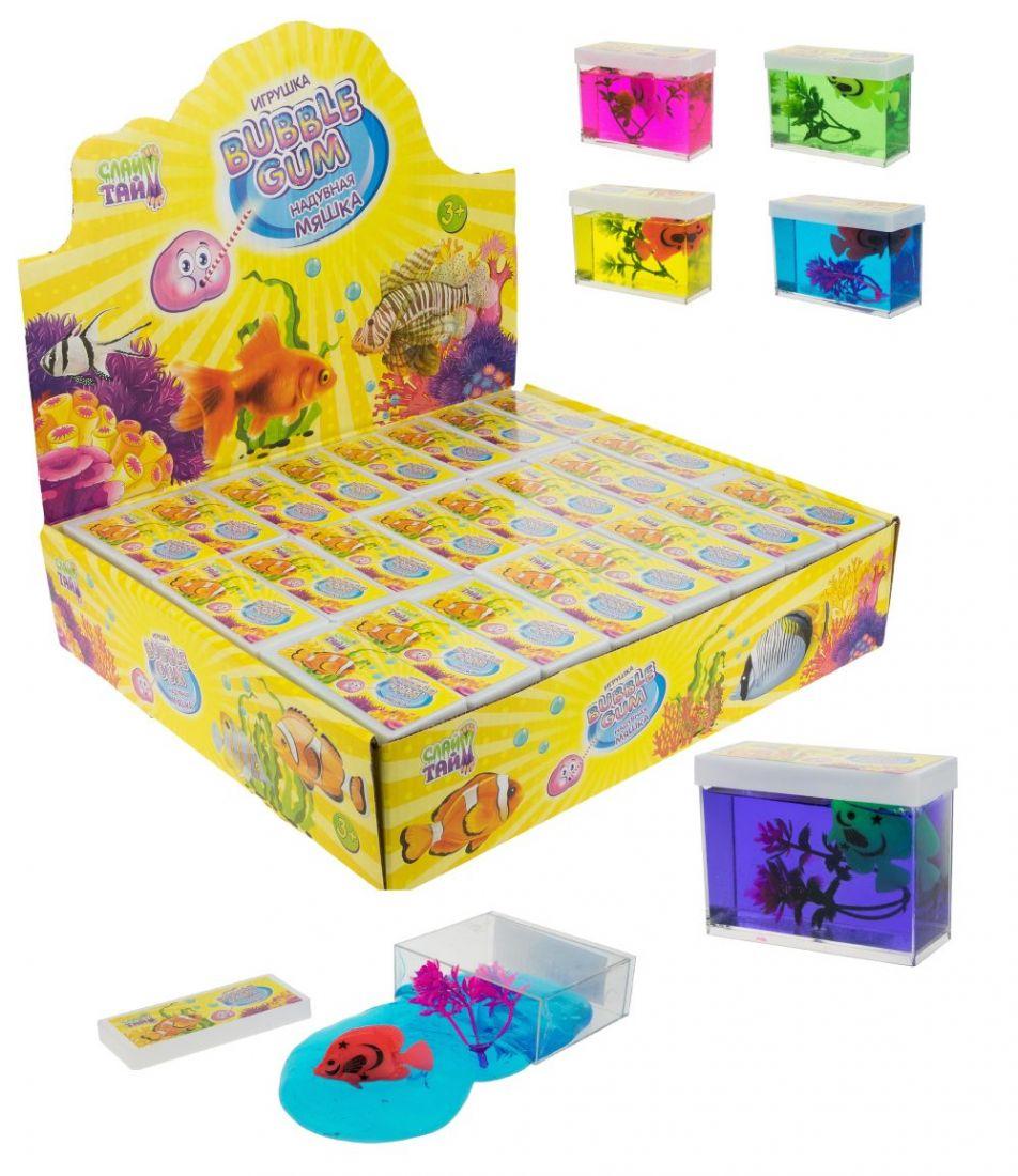Слайм Тайм надувная мяшка Bubble Gum с рыбкой и растением, 5 цветов,8х6см, 24 шт в д/б