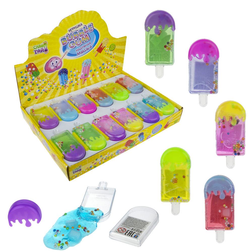 Слайм Тайм надувная мяшка Bubble Gum мороженое эскимо с разноцветнами шариками, 6 цветов, с трубочкой, 4,5х4см, 24 шт в д/б