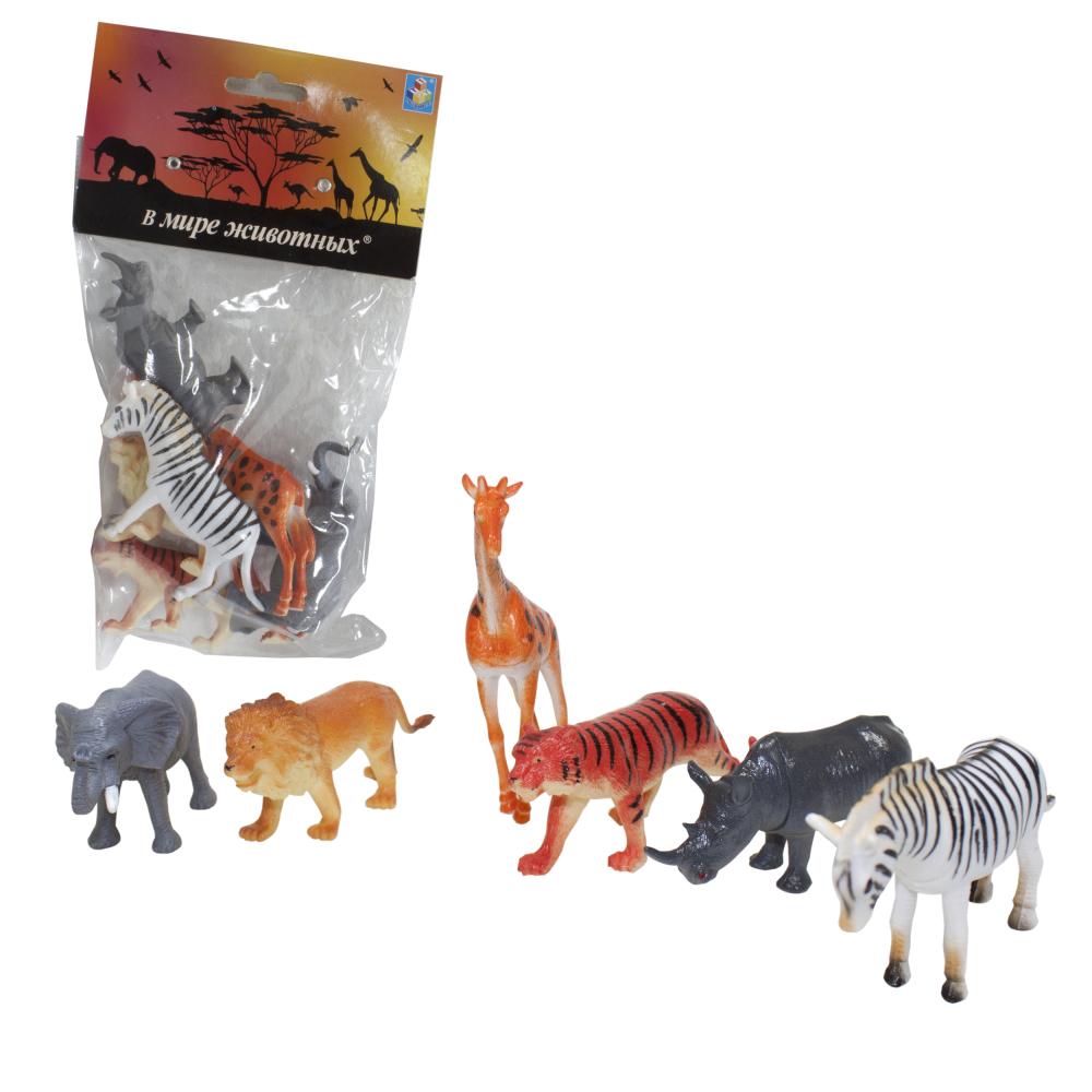 1toy В мире животных наб.игр.животных 6 шт х 8,75 см. в упаковке ПВХ с хедером