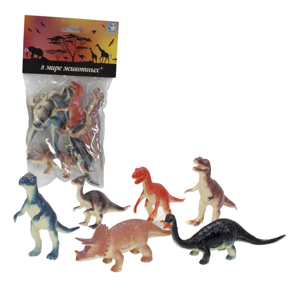1toy В мире животных наб.игр.динозавров 6 шт х 10 см. в упаковке ПВХ с хедером