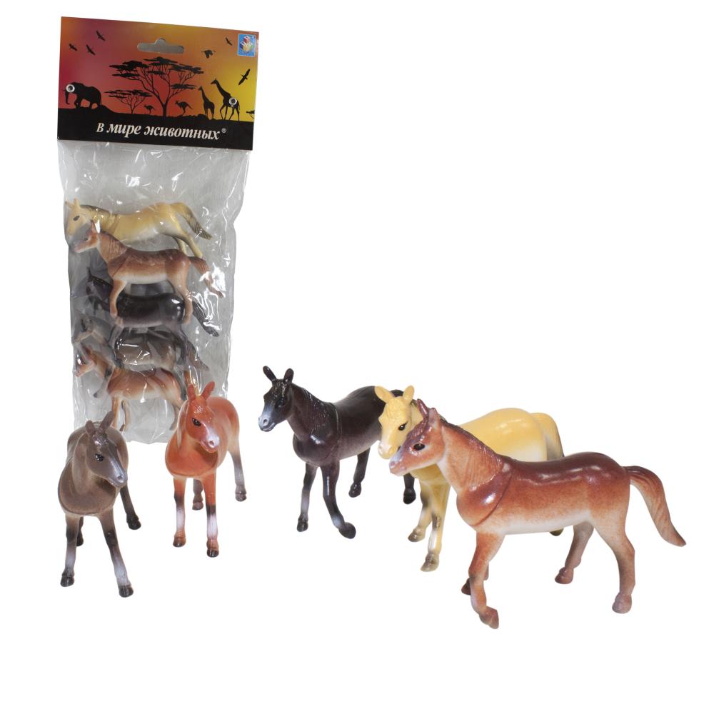 1toy В мире животных наб.игр.лошадей 6 шт х 10 см. в упаковке ПВХ с хедером