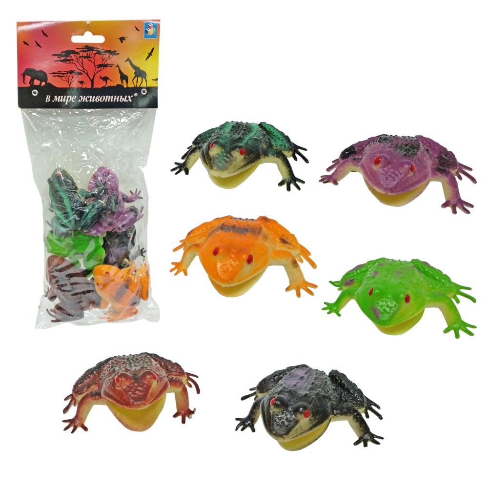 1toy В мире животных, наб.игр.лягушек 6 шт х 8,75 см. в упаковке ПВХ с хедером