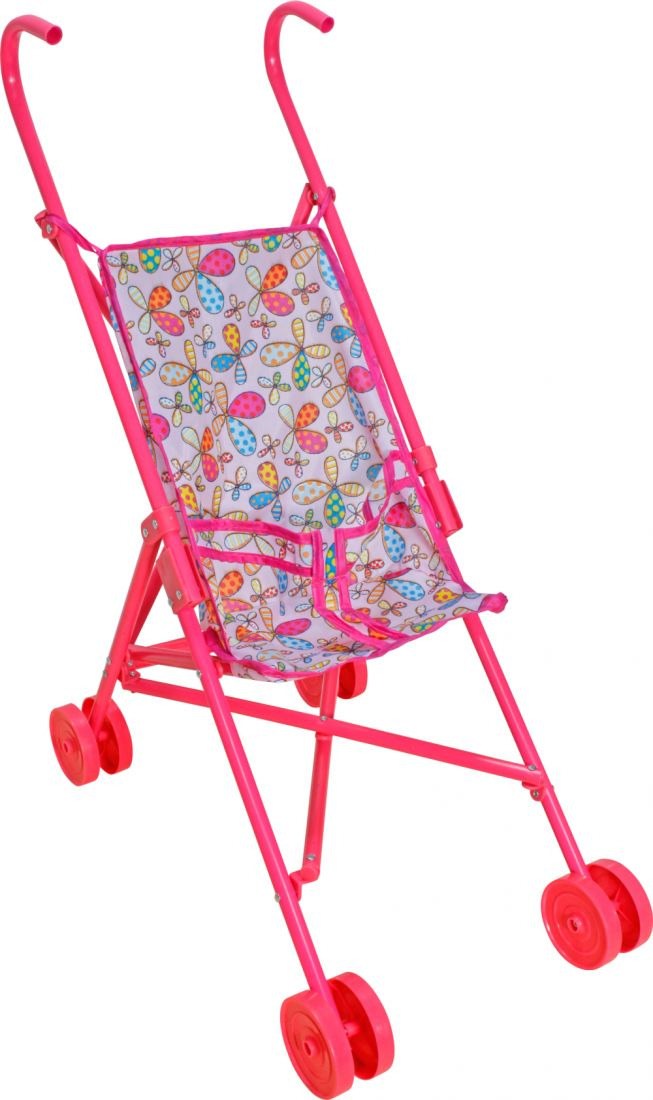 1toy коляска-трость для кукол, пласт.каркас, 42х27,5х58см, розовая с цветочками,пакет
