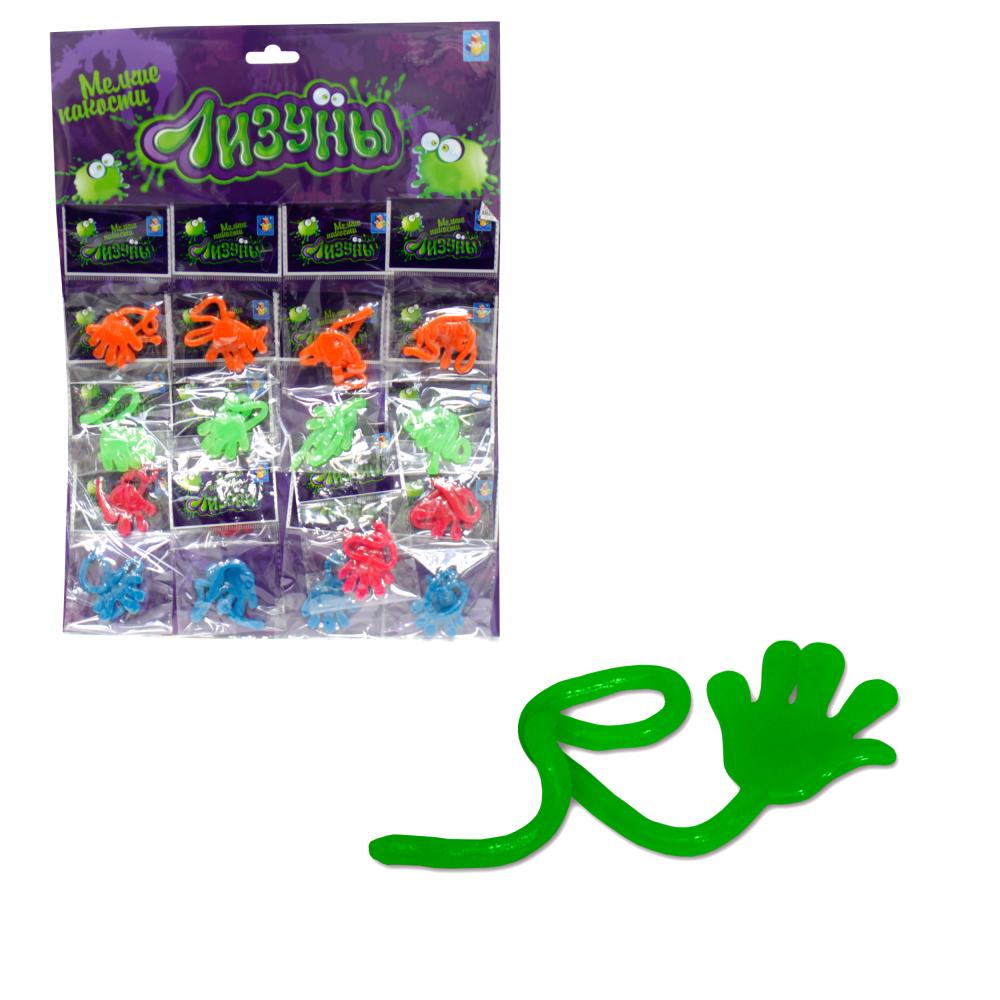 1toy Мелкие пакости Лизуны рука, 4 цвета, 16 ОРР пакетов на блистере