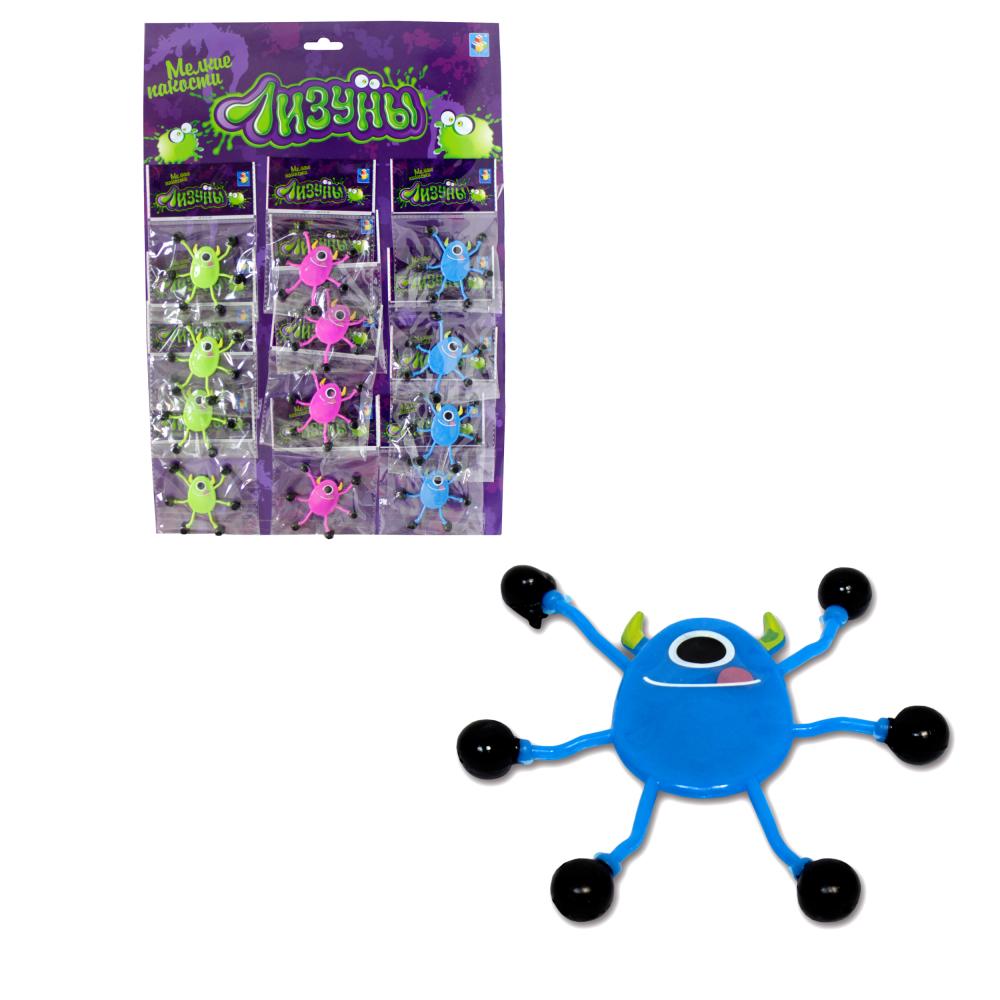 1toy Мелкие пакости Лизуны монстр с рожками 6,5 см, 3 вида, пакет, 12 ОРР пакетов на блистере