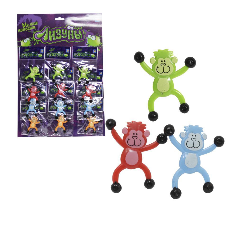 """1toy """"Мелкие пакости"""" Лизуны обезьянка 6,5 см, 4 вида, пакет, 12 шт.ОРР"""