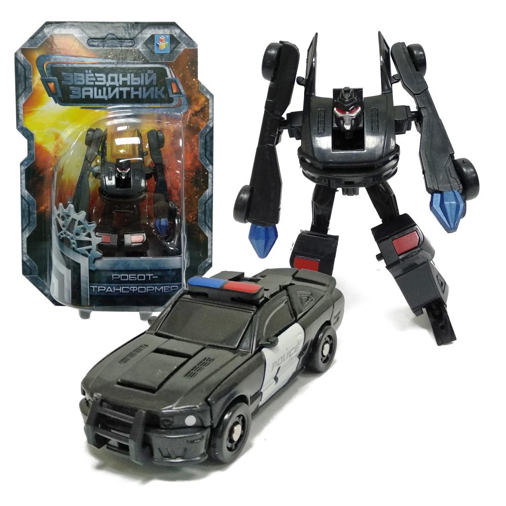 1toy Звёздный защитник, робот-трансформер 9 см, собирается в полицейский автомобиль, блистер,