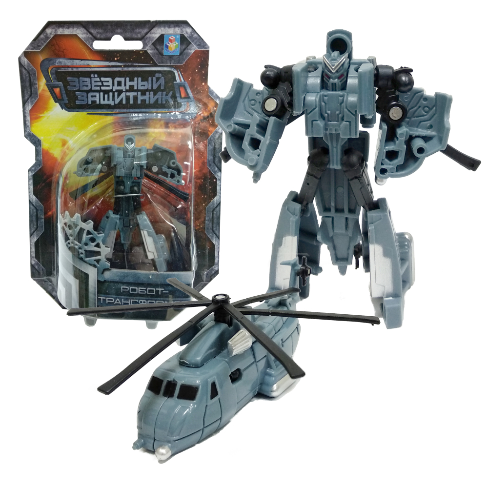 1toy Звёздный защитник, робот-трансформер 9 см, собирается в вертолет, блистер