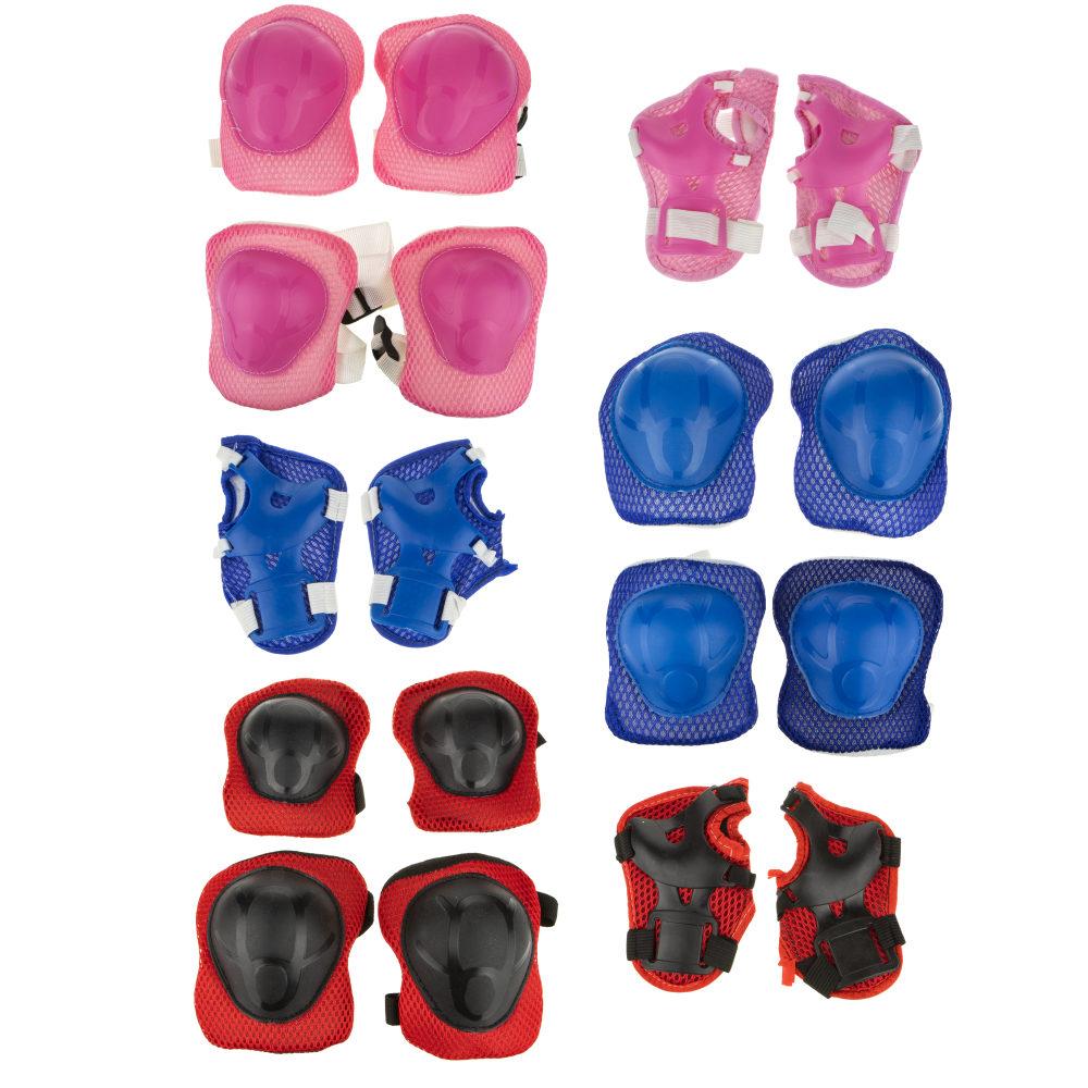 Комплект защиты (наколенники, налокотники, перчатки), 3 цв. в ассорт. син,красн,роз.