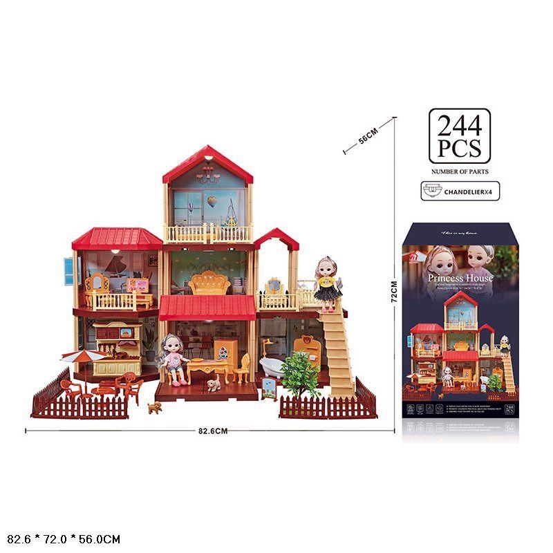 668-22 Дом вилла для маленьких кукол с мебелью, светом и куклами, 244 детали Princess House