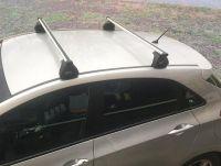 Багажник на крышу Hyundai Solaris hatchback, Евродеталь, аэродинамические дуги
