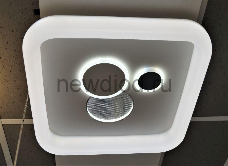 Управляемый светодиодный светильник GEOMETRIA F01 48Вт-12м² 6/3/4000K пульт 500мм белый Oreol