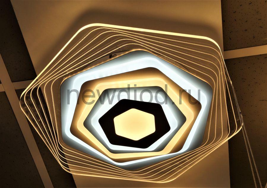 Управляемый светодиодный светильник GEOMETRIA 9252-2 90Вт-23м² 6/3/4000K пульт 500мм белый Oreol