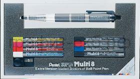 Набор Pentel Multi8 ручка-карандаш+5 наборов цв.грифелей 2мм, 3 набора цв.стержней, точилка PH803ST