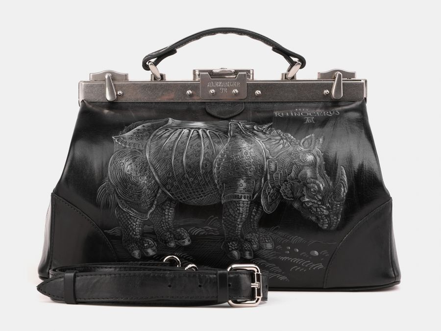 """Кожаный саквояж с росписью Alexander-TS """"SW15 Black Носорог Дюрера"""""""