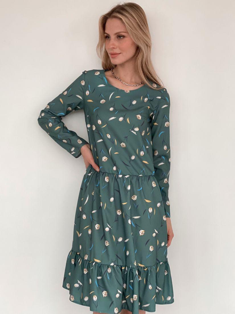 s2983 Платье зелёное с принтом