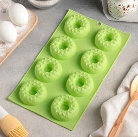 Форма для выпечки «Пончики», 28,5×17 см, 8 ячеек (d=6,3 см), цвет МИКС