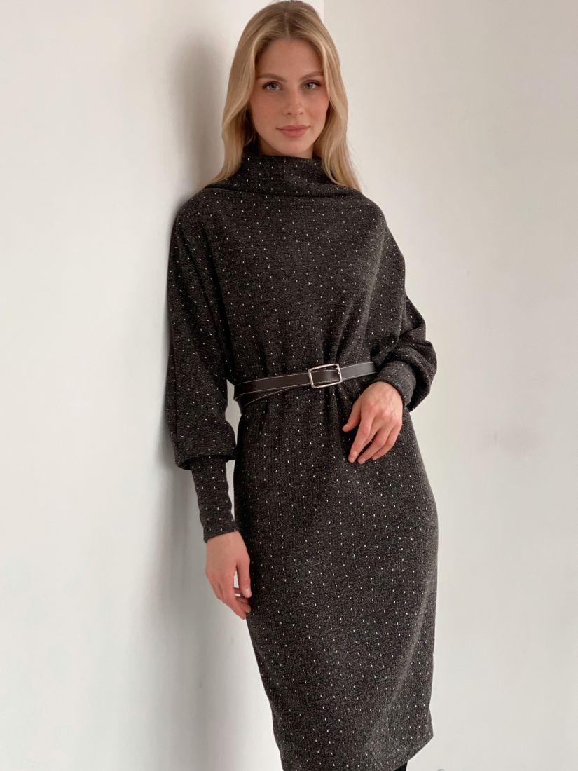 """s2991 Платье-свитер """"оверсайз"""" в цвете графит в крапинку"""