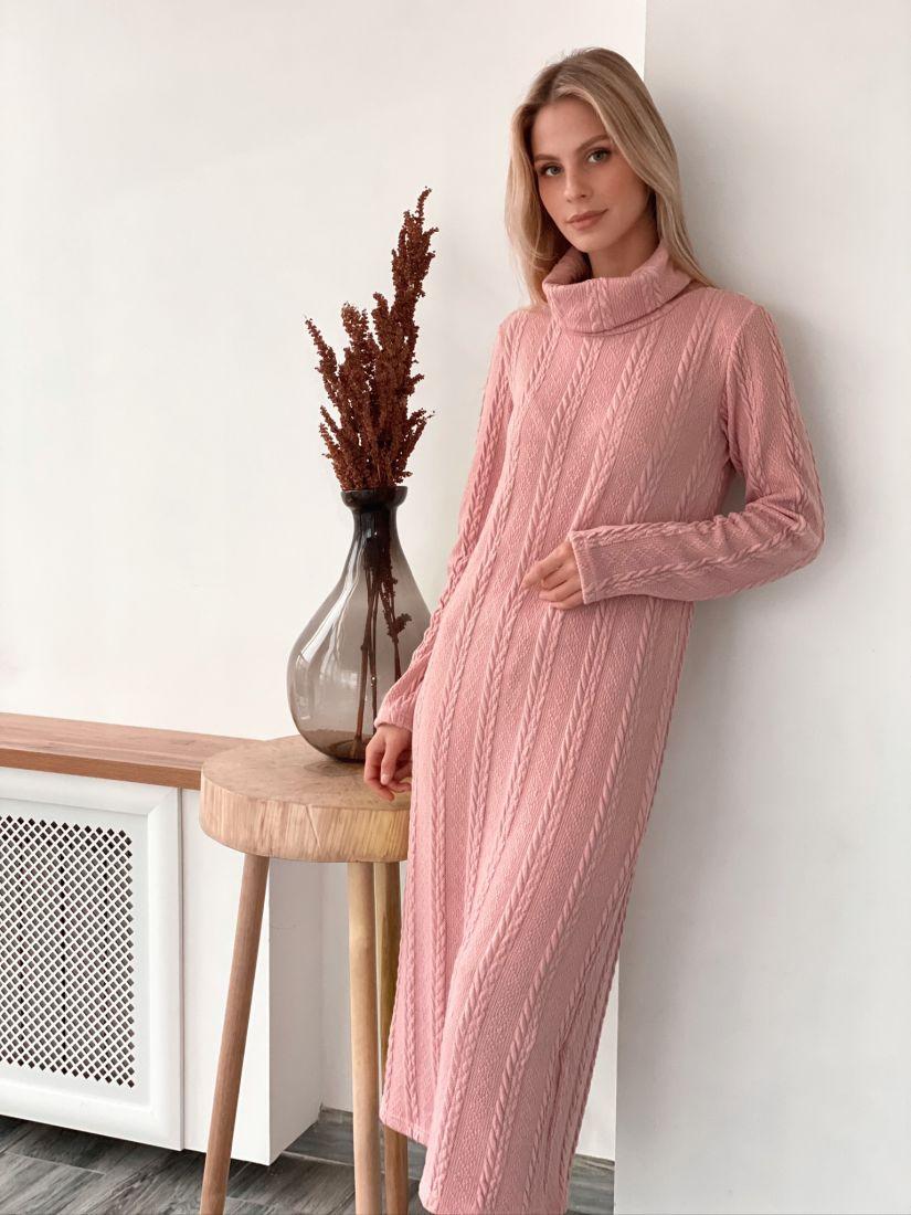 s2992 Платье-свитер с косами розовое