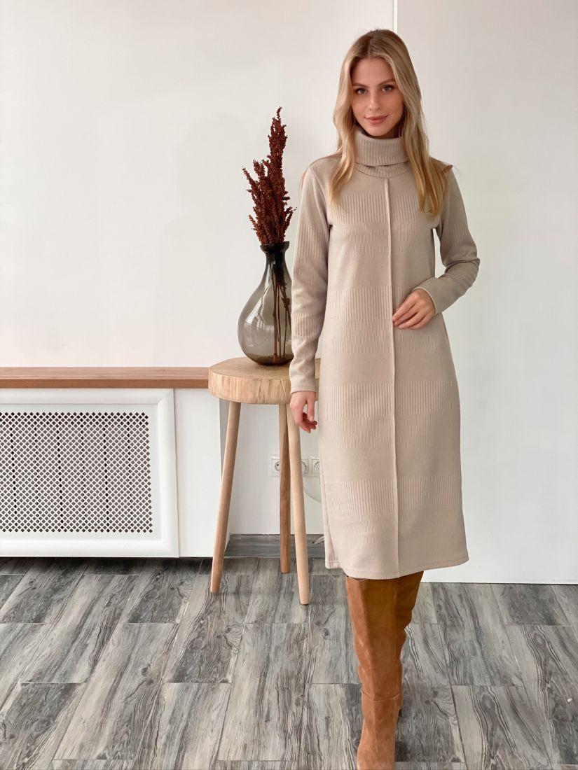 """s2994 Платье-свитер в цвете """"крем"""" с вертикальной планкой"""