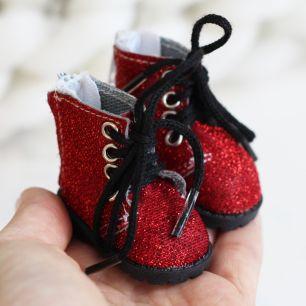 Обувь для кукол 5,5 см - Сапожки на молнии красные с блестками
