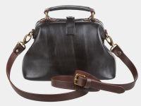 """Женская сумка-саквояж из натуральной кожи Alexander-TS """"W0013 Black Brown"""""""