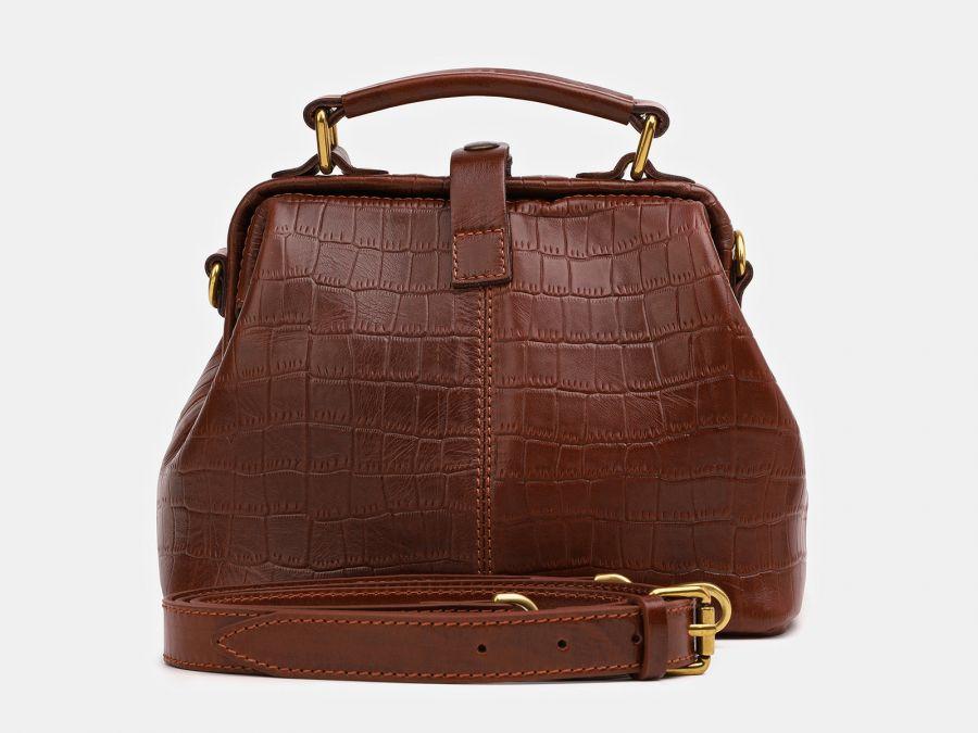 """Женская сумка-саквояж из натуральной кожи Alexander-TS """"W0013 Cognac Croco 2"""""""