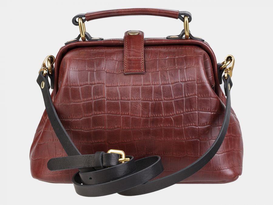 """Женская сумка-саквояж из натуральной кожи Alexander-TS """"W0013 Cognac Croco Black"""""""