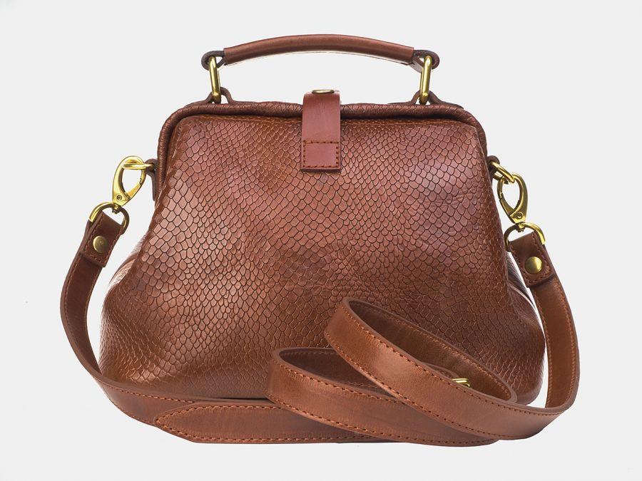 """Женская сумка-саквояж из натуральной кожи Alexander-TS """"W0013 Cognac Piton"""""""